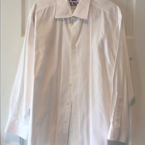 David Donahue Fine Twill 100% Cotton White Shirt